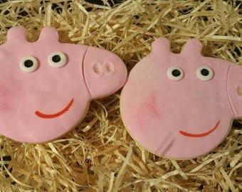 pepa pig cookies,Birthday cookies,Birthday pepa pig cookies,gift favores pepapig sugar cookies,...one dozen
