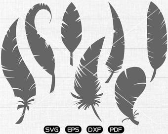 Feather SVG, Feather Clipart, cricut, silhouette cut files commercial use