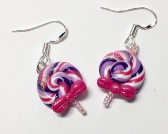 Purple lollipop earrings