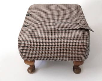 Houndstooth tweed footstool