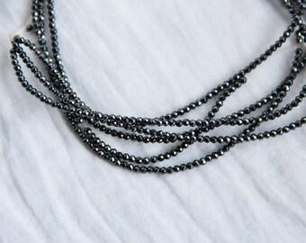 Strand 15cm 2 mm Hematite faceted beads - natural semi-precious natural gemstone - jewelry by Myo supply DIY