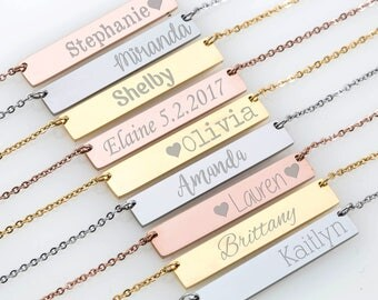 Gold Bar Necklace, Personalized Bar Necklace, Name Bar Necklace, Custom Name Necklace, Monogram Necklace, Bridesmaid Gift, Personalized