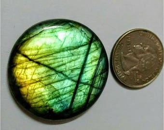 38.60mm,Round Shape,Labradorite Cobochon/Golden Green Flash /wire wrap stone/Super Shiny/Pendant Cabochon/Semi Precious Gemstone/silverJewl