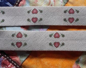 BIAS METIS cotton linen heart pattern - 20/10/10 - for sale by the yard