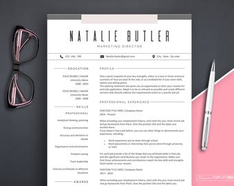 Professional Resume Template Instant Download, Creative Resume, Resume  Template Marketing, Resume Template Word