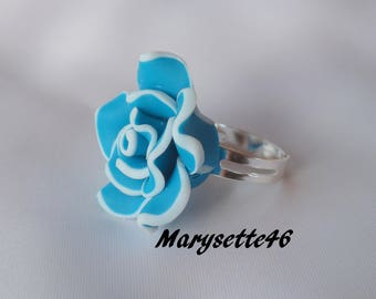 Polymer clay blue white lined flower cabochon Adjustable ring