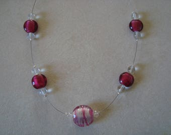 Simple necklace, raspberry and white transparent
