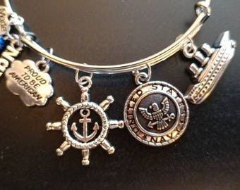 Military - US Navy - Adjustable Bangle Charm Bracelet Silver