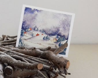 """Christmas card """"under the snow"""" with envelope"""