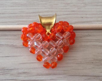 Heart shaped two-colored Czech glass beads