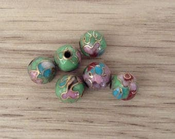 Gold cloisonne round beads flower decor handmade 6 x