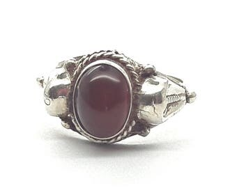 Vintage Carnelian Sterling Silver Ring/Pinky Ring/Size 4/Free Shipping US/Handmade/  Christmas/Birthday/Valentines/Friendship Ring