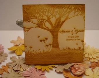 Lot 10 020881 wooden wedding Invitation