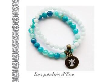 Bracelets beads semi precious agate - Blue - 6 mm
