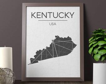 Kentucky Map Print Etsy - Kentucky map usa