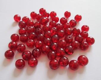 40 perles rondes en verre rouge 8 mm