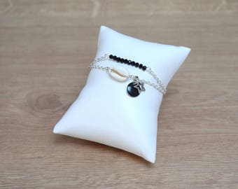 silver plated or gold cowrie bracelet