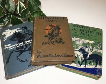 Set of 3 Vintage 1920s, 1950s Horse-Themed Hardcover Books