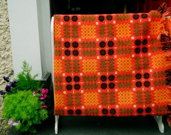 Vintage Welsh Tapestry Blanket, Orange Welsh Blanket, Traditional Welsh Blanket, Orange Caernafon Pattern, Welsh Wool Mill Blanket
