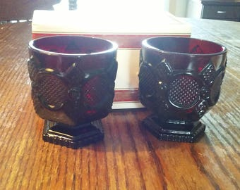 Avon 1876 Cape Cod Collection Ruby Red Footed Glass Set