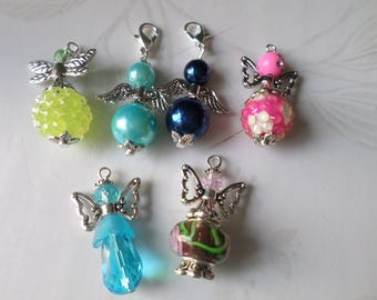 x 7 mixed pendants/angel wing charm various beads and silver colors