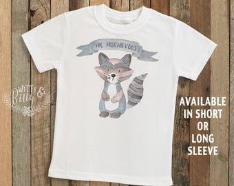Mr Mischievous Raccoon Kids Shirt, Cute Animals Kids Shirt, Woodland Animals, Cute Kids Tee, Boho Kids Shirt, Funny Tee, Boys Shirt - T161M