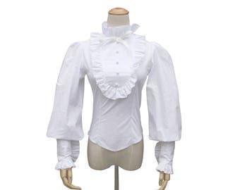 Victorian White Women Shirt Blouse Steampunk Gothic Cosplay Theater Punk Costume  Witch Halloween Blouse Renaissance  Cotton Dress
