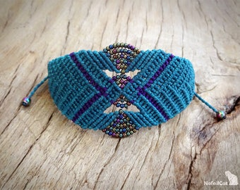 macrame bracelet with glass seed beads, teal bracelet, iris seed beads, hematite beads