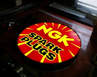 NGK Spark plugs Lighted sign 24 inch round x 4 inch thick