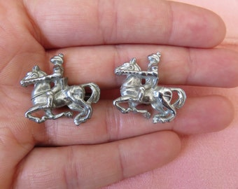 Unique Vintage Detailed Cuff Links with Medieval Jousting Knight on Horseback, Silver-toned, Super Fun Design  #47