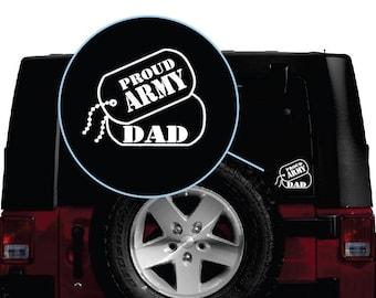 Army Dad Dog Tags Vinyl Window Decal Sticker