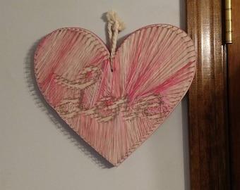 Heart Plaque String Art Customizable