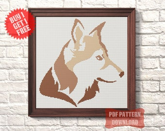 Symbol 2018 Dog cross stitch pattern Husky modern cross stitch chart Animal cross stitch PDF Embroidery Needlecraft Pet first gift New Year