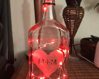 Custom Initials in Heart Lamp