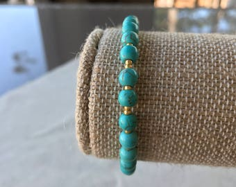Turquoise Dyed Howlite Stone and Small Gold Beaded Bracelet