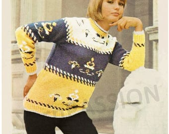 Modern Fair Isle Jumper in 5 sizes  81 - 102 cm ( 32 to 40 ins)