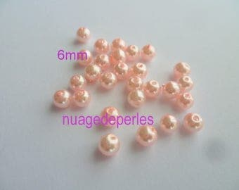 100 glass 6mm pink powder spacer beads