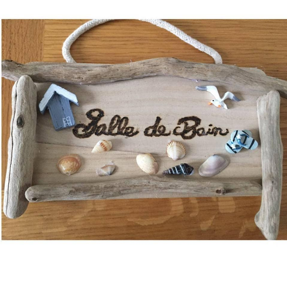 Panneau de porte salle de bain bois flott s th me mer for Salle de bain en bois flotte