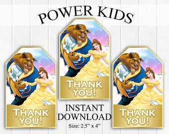 INSTANT DOWNLOAD Beauty and the Beast Thank You Tags, Favor Tags, Party Favors, Printable DIY