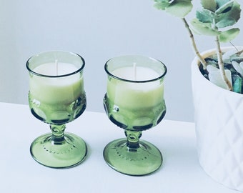 Green Vintage Glass Soy Candle