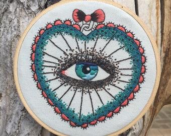 Old School Eye, tattoo design embroidery hoop home decor