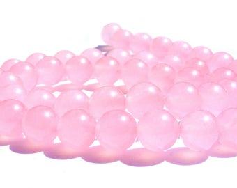 8 jades de 8 mm perles pierre rose.