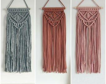 Medium vintage layered Macrame wall hanging pink, grey or chestnut