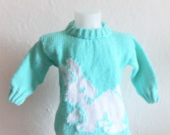 Girl Wool Sweater green half sleeve water size 5/6 years with little white rabbit