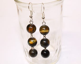 Tiger eye stone chandelier earrings
