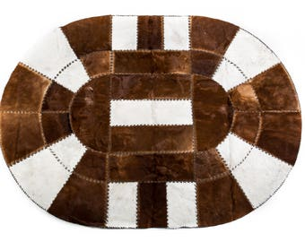 "Very Unique Handmade Oval Cowhide Patchwork Area Rug, Hair-On Genuine Bovine Leather, Modern Premium Quality, 5'2"" x 7'1"""