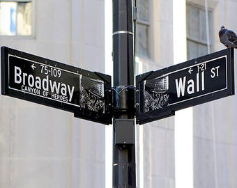 Canvas Print, Broadway And Wall Street New York City Photography, Manhattan Fine Art Photo, Road And Street Signs, Street Photo
