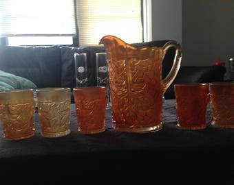 Vintage Carnival Glass Pitcher and Cups 6 piece set