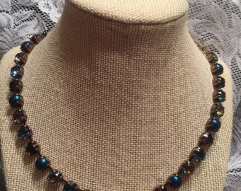Multi-color 8mm Swarovski necklace and earring set