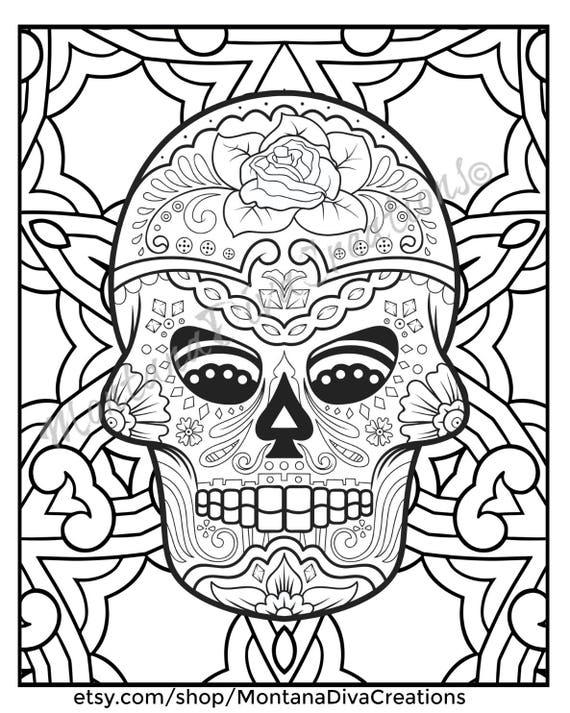 Fun Halloween Printable Sugar Skull Mandala Coloring Pages